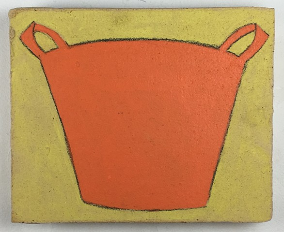 Orange Bucket on Yellow