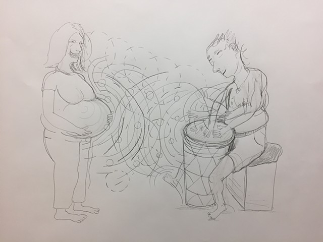 Bongo player and pregnant woman