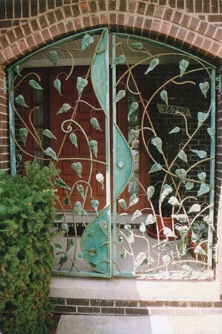 Arched Gate with Hammered Copper Leaf Vine, Sterling Heights