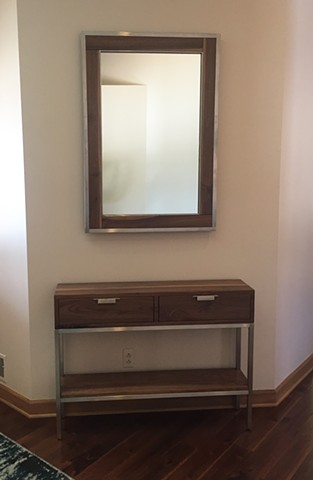 Entryway Table & Mirror, Farmington Hills  Collaboration with Greg Fredrick of Oakwood Studios