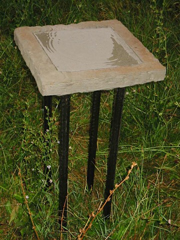 Limestone & Steel Bird Bath