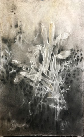 Charcoal and pastel drawing on embossed paper