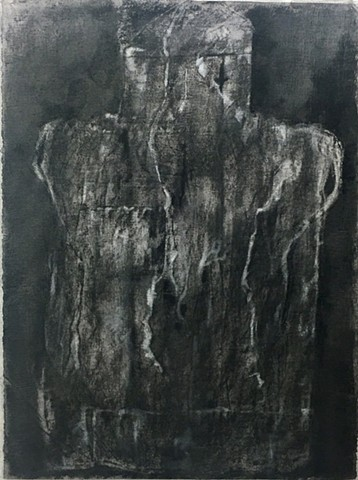 Charcoal and mixed media drawing on embossed paper