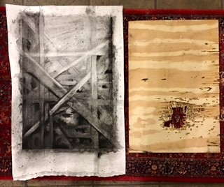 Charcoal drawing on embossed paper and plywood panel with ballistic damage