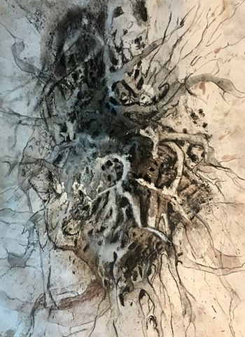 Charcoal, pouring medium and pastel drawing on embossed paper