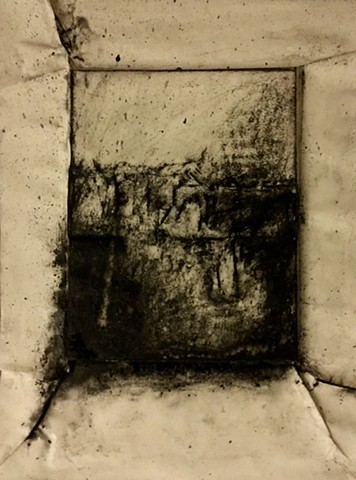 Charcoal drawing on embossed paper