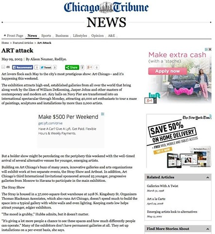 Chicago Tribune article on Artboat 2003, #1