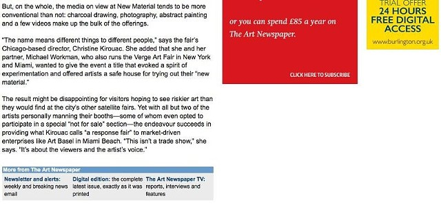 New Material '13, Art Newspaper Article, Part 2