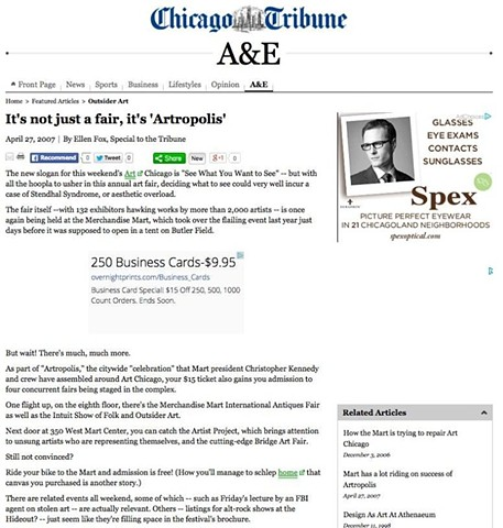 Bridge '07 at Art Chicago, Chicago Tribune Article, Part 1