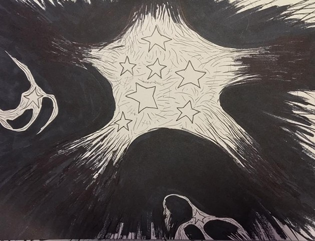 Star Studies 5, pen and ink on archival journal paper