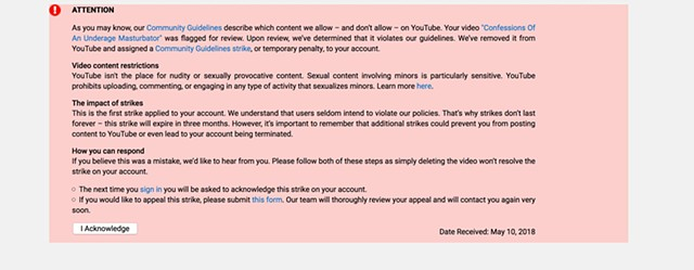 Youtube Video Ban Notice