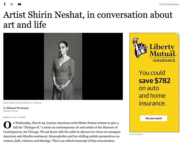 Chicago Tribune Interview with Shirin Neshat, Part 1