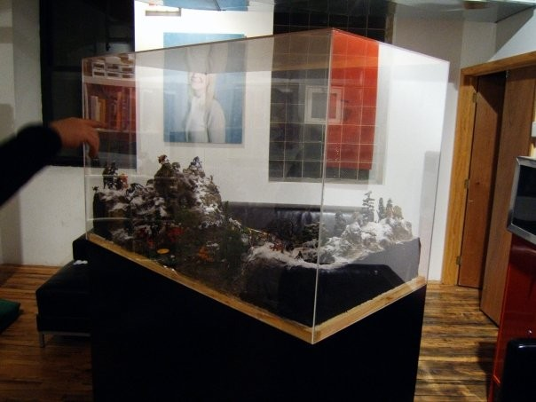 Blood Lake, paint, pewter gaming figurines, miniature landscape-building materials, 2008.