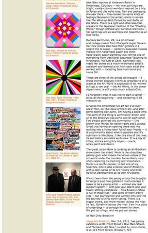 Verge Art Brooklyn '11, Artnet Article 2
