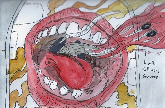 Kill You, Guston, watercolor, pen and ink