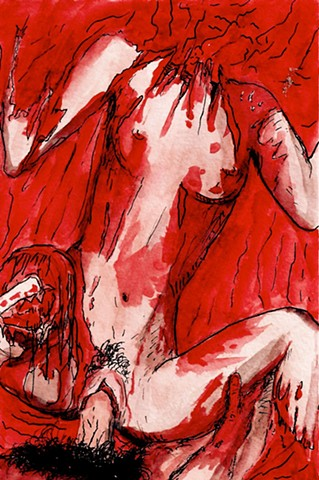 Rape of Circe's Corpse, watercolor, pen and ink on Arches