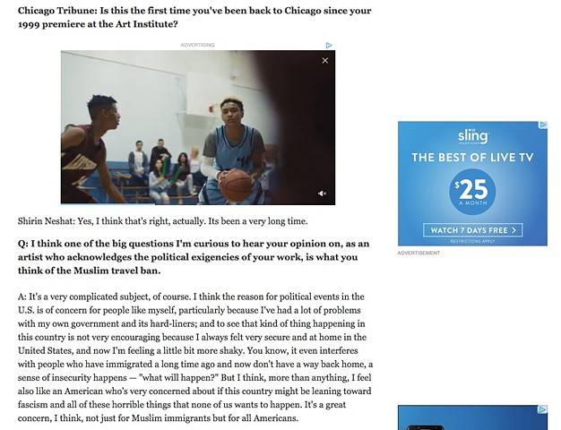 Chicago Tribune Interview with Shirin Neshat, Part 2