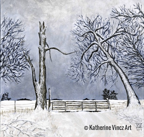 snow scene of countryside fence trees in silhouette blue and gray and white
