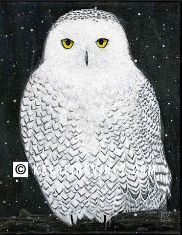 snowy owl at night with snow falling, owl with yellow eyes, white feathers