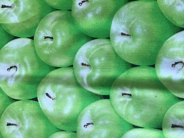 green granny smith apple print on 100% cotton fabric