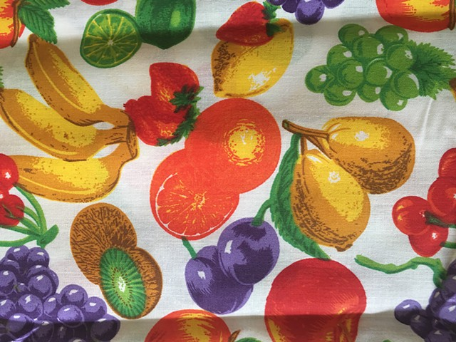 bright bold colored fruit variety on white 100% cotton fabric