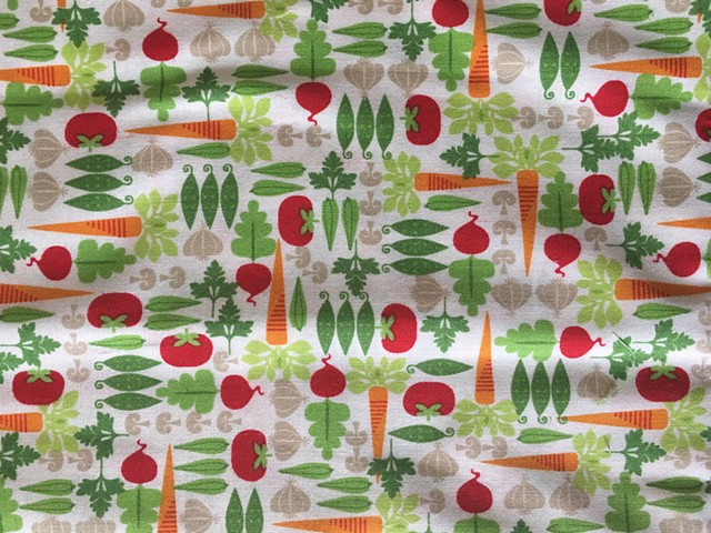 variety of colorful garden veggies on white 100% cotton fabric