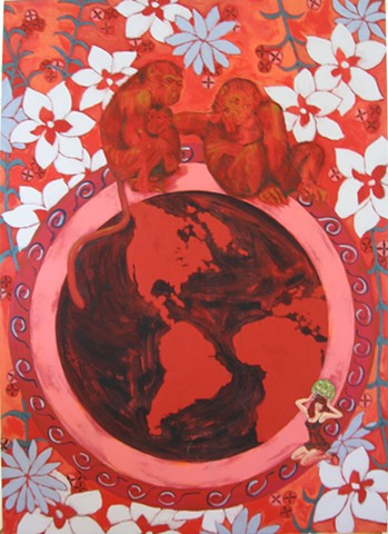 Monkeys, Globe, Climate Change, hot Planet, Red, painting, floral patterns by Terri Whetstone