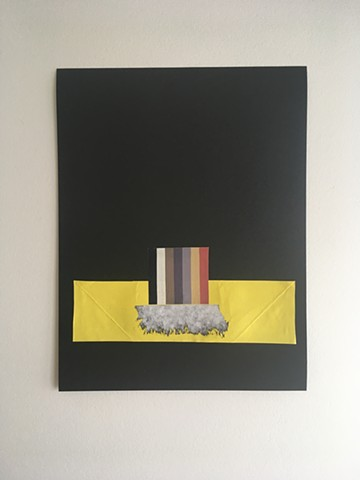 collage with stripes, yellow and cloud shape