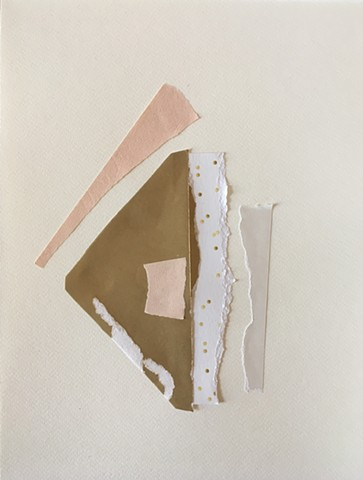 torn paper collage in pink and gold on watercolour paper