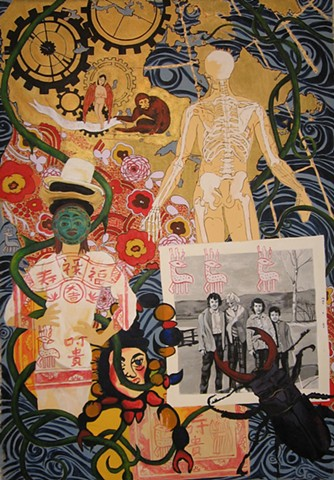 painting of map with skeleton, masks, monkey, staghorn beetle, colourful patterns