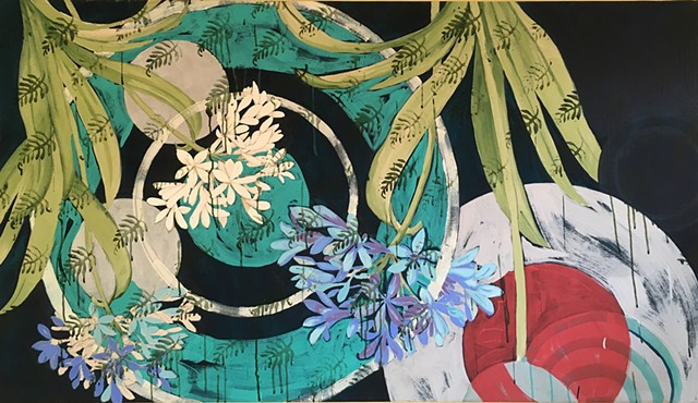 floral botanical with circle patterns, drips and stamps, large painting by Terri Whetstone