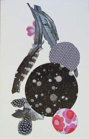 Feather, floral and patterns collaged