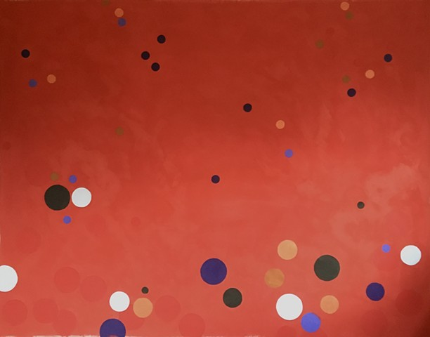 large abstract painting coloured dots optical illusion