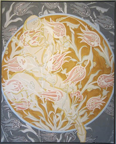 Camo pattern, camouflage, ninja, tulips, Gold painting by Terri Whetstone