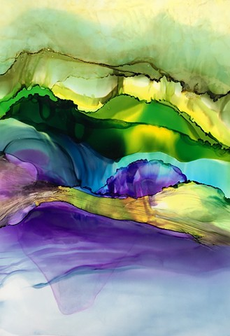 Waterscape with violet - SOLD