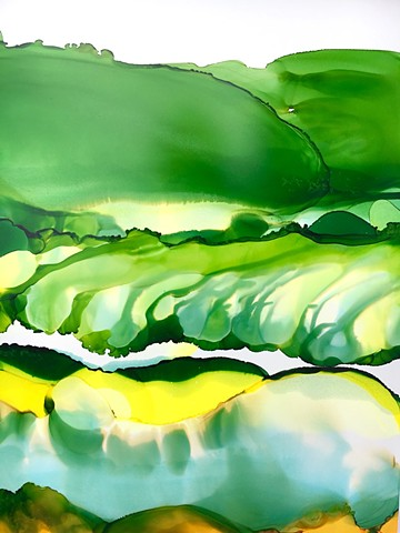 Rolling hills in green -SOLD