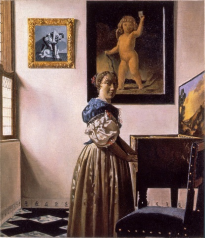 Lady Standing at the Virginals, Restored