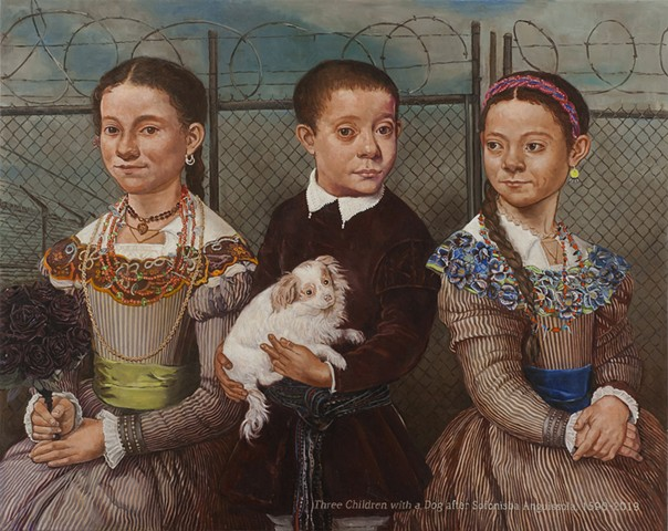 Three Children with a Dog after Sofonisba Anguissola
