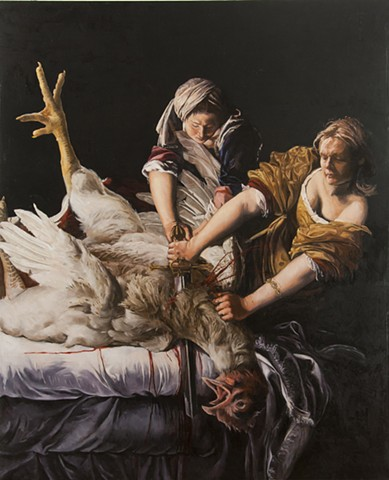 Self Portrait Slaying a Rooster after Artemisia Gentileschi's Judith Slaying Holofernes