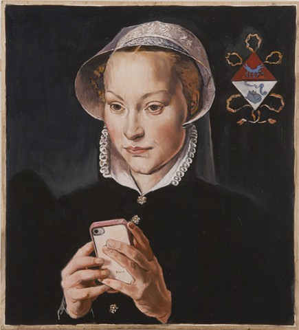 The Text Message after Pieter Pourbus's Portrait of a Married Lady of Bruges and Images from Keith Haring