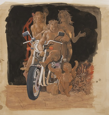 The Biker after Andrea Mantegna's Allegory of Vice and Virtue