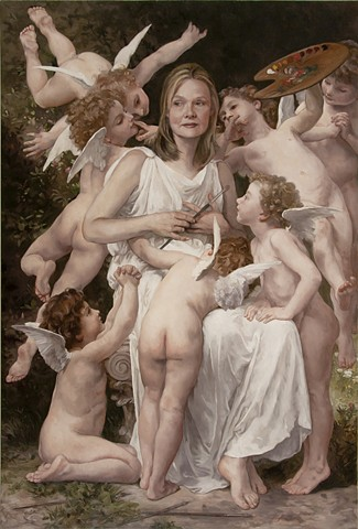 Self Portrait as Bouguereau's The Assault