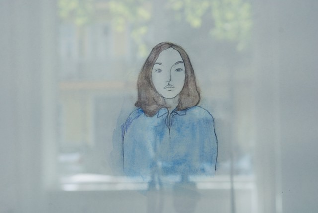 photo of self portrait drawing in Berlin