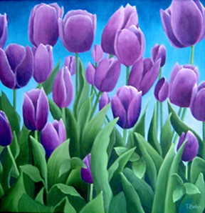 Purple tulips, blue sky, graphic, vibrant