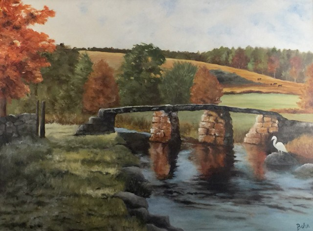 Olde stone bridge over river, landscape, hills, autumnal, grass pathway