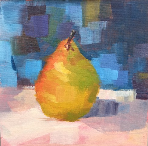 Pear on Blue
