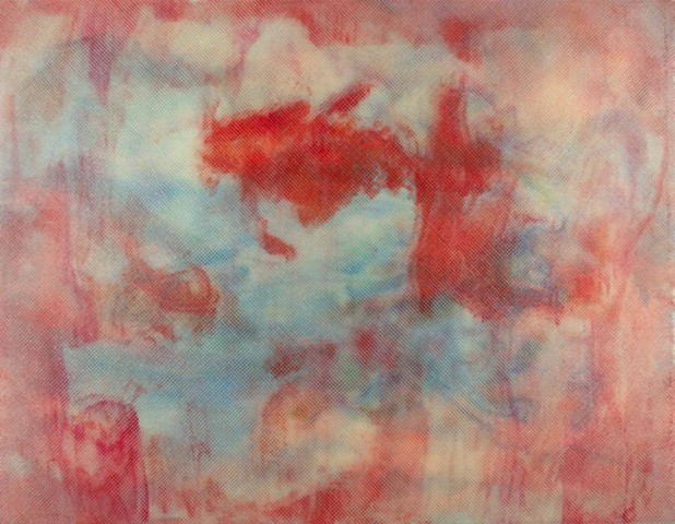 Red blue and cloudy abstract painting