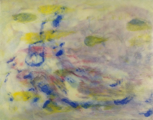 Yellow lilac blue abstract painting