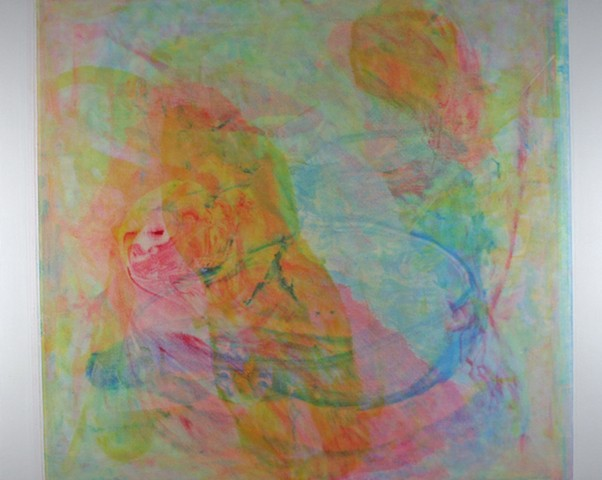 Abstract paintings with pink, yellow and acqua blue