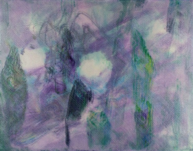 Purple green abstract painting